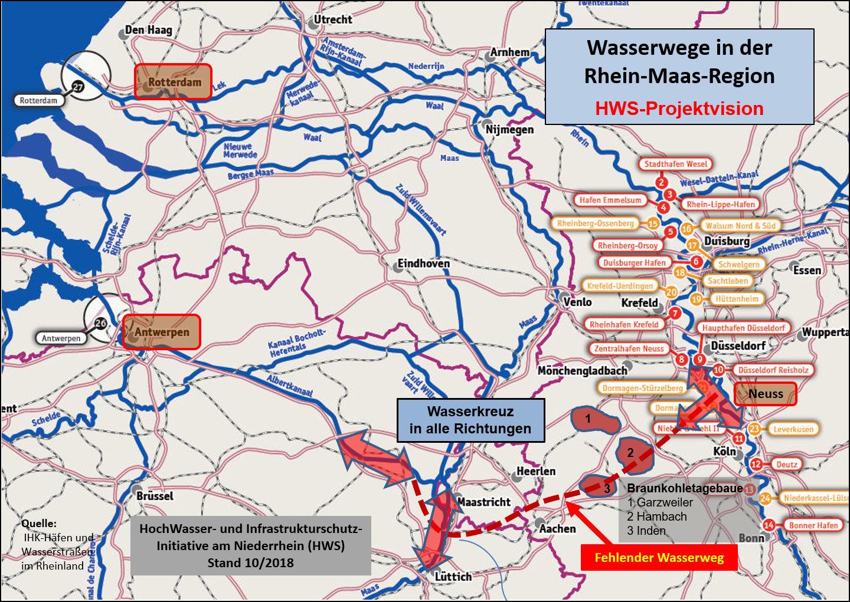 Kanal-Plan, Anschluß an Belgische (westl. ) Wasserstraßen